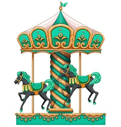 A green merry-go-round vector