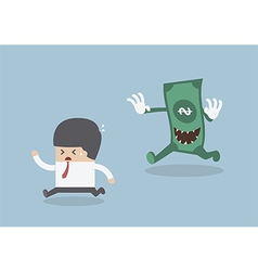 Businessman running away from the money monster vector