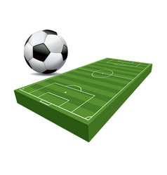 3d soccer football field and ball vector