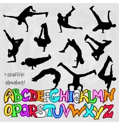 Silhouettes set of break dancers vector
