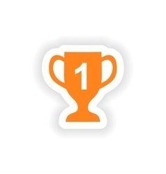 Icon sticker realistic design on paper cup winner vector