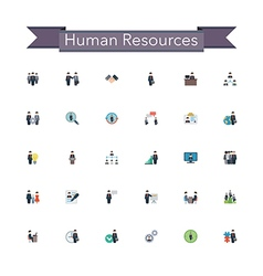 Human Resources Flat Icons vector image