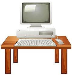 Computer set on the table vector