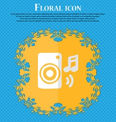 Music column disco music melody speaker floral vector