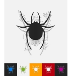 Spider paper sticker with hand drawn elements vector