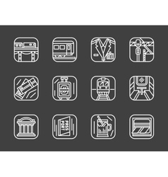 Passenger transportation white line icons vector