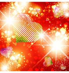 Heart stvalentine day bright disco background vector