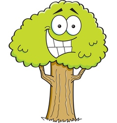 Cartoon smiling tree vector