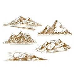 Mountain landscapes symbols with river and forest vector