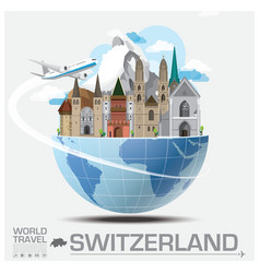 Switzerland landmark global travel and journey vector