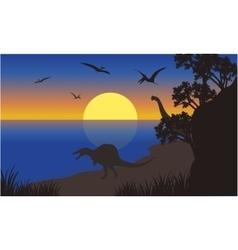 Silhouette of spinosaurus and pterodactyl vector