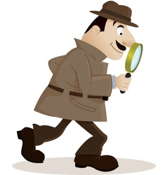 Detective with magnifying glass vector