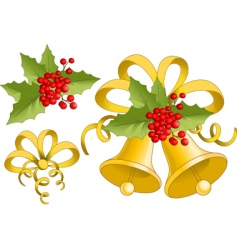 holly and Christmas bells vector image
