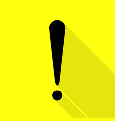 Attention sign black icon with flat vector