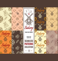 Bakery patterns set vector image vector image