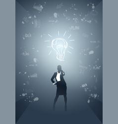 Business woman silhouette light bulb new idea vector
