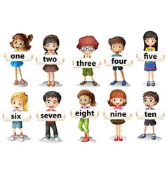 Children holding word cards with numbers vector