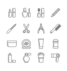 Cosmetics and beauty thin line icons vector image