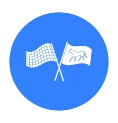 Crossed checkered and equestrian flags icon in vector image
