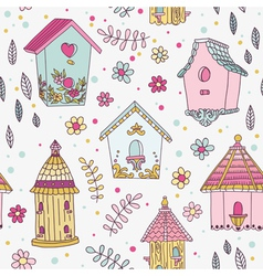 Cute Bird House Background - Seamless Pattern vector image vector image