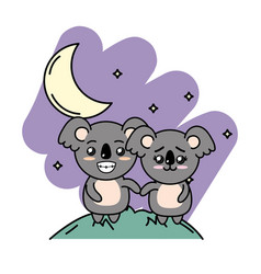 Cute couple koala in the mountain with moon and vector