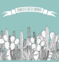 Endless succulent cactus outline border vector