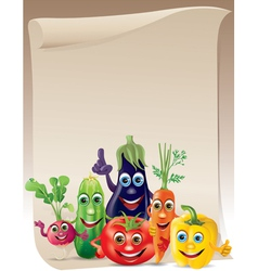 Funny vegetables company scroll vector