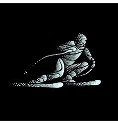 Giant slalom ski racer stippled silhouette vector