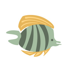 Grey and yellow butterfly fish part of vector
