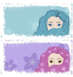 grunge banners with girls vector image