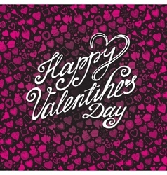 Happy Valentines day card with pink Heart pattern vector image vector image