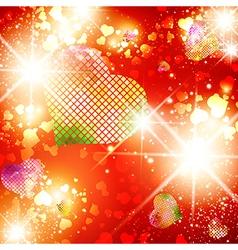 Heart stvalentine day bright disco background vector