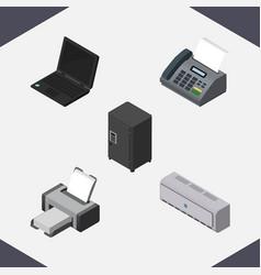 Isometric work set of office phone strongbox vector