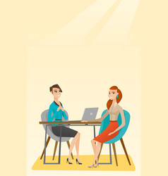 job applicant having interview for the position vector image vector image
