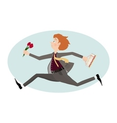 Man rush to first date with flowers valentine day vector
