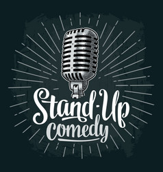 Microphone lettered text stand-up comedy vintage vector