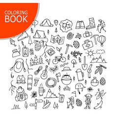 mountain tourism set coloring page design vector image