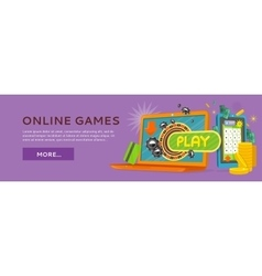 Online games web banner isolated with play button vector