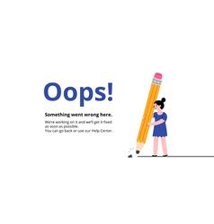 Oops broken pencil page vector image