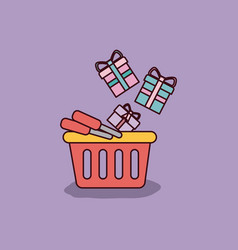 Purple background with shopping basket and gift vector