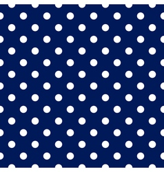seamless pattern - blue with white polka dots vector image vector image