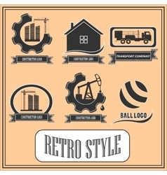 Set of retro logos for industrial and construction vector