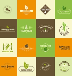 Set of vegan and vegetarian icons vector image vector image