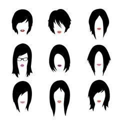 Set of woman hipster style haircut glasses vector