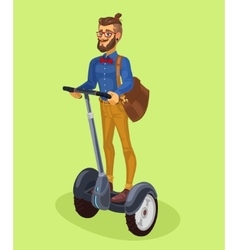 Guy using segway vector