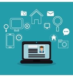 laptop profile page internet media vector image