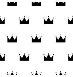 Black and white princess crown seamless pattern vector