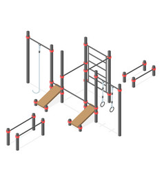 Set of street workout area elements vector