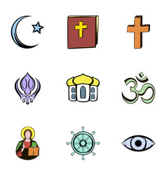 Religion culture icons set cartoon style vector