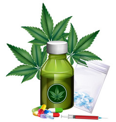marijuana leaves and different products vector image